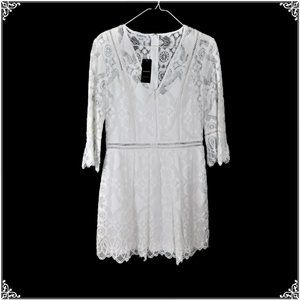 NWT bebe White Lace Flare Dress 8